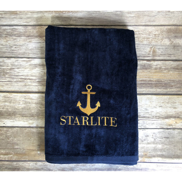 Personalized Boat Beach Towels-AlfonsoDesigns
