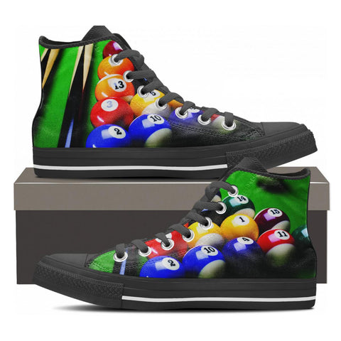 Unisex High Top Sneaker Custom Printed Canvas Shoes Billiards Pool Ball New