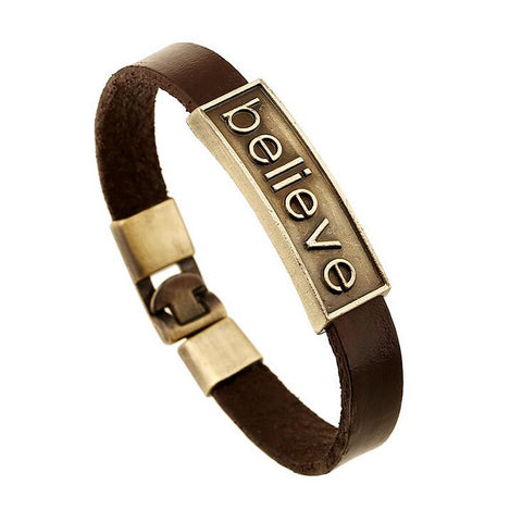 FREE Believe Leather Alloy Bracelet