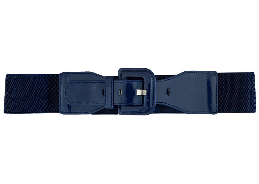 Patent Wide Waist Square Stretch Belt - Navy