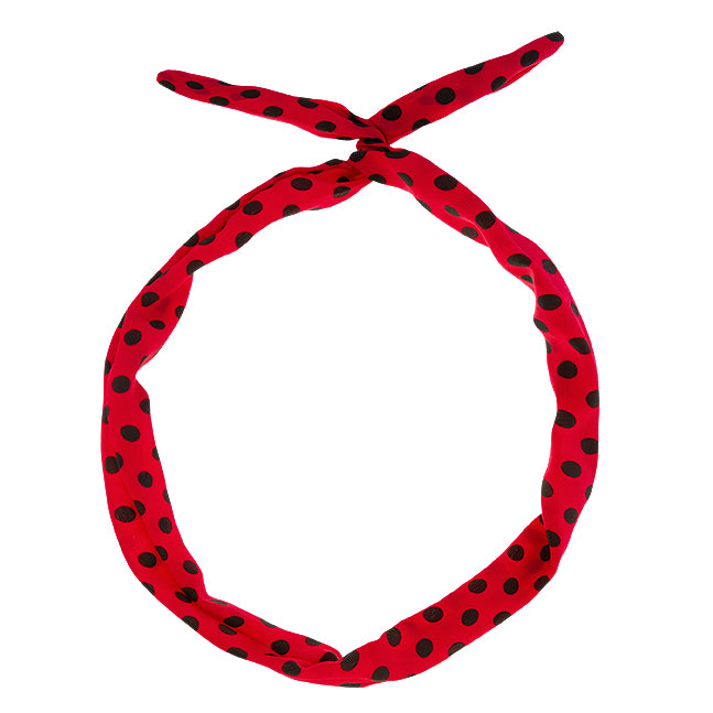 Wired Hair Twist – Retro Red, Black Dots