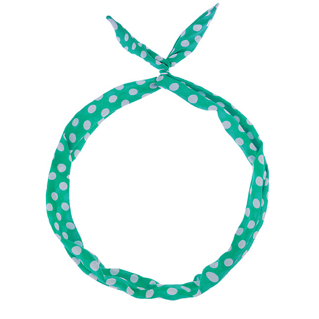 Wired Hair Twist – Vintage Teal with White Dots