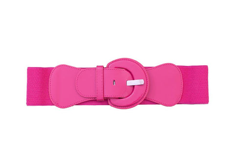 Stretch Belt Round Buckle - Fuchsia