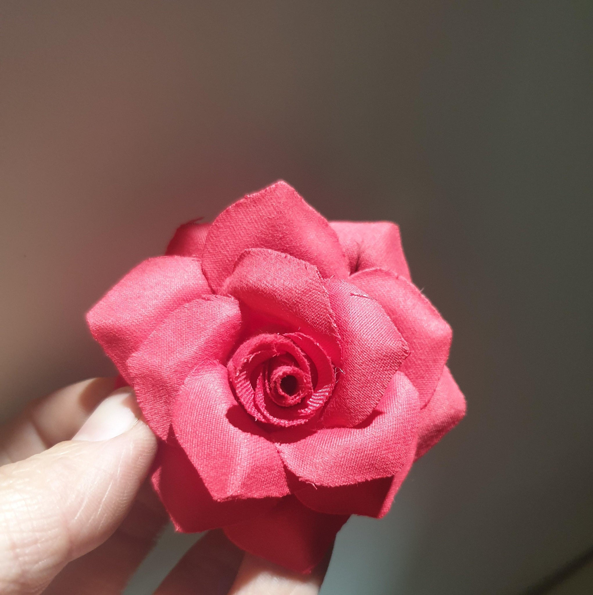 Rose Hair Clip & Brooch 7cm – Rosie Red