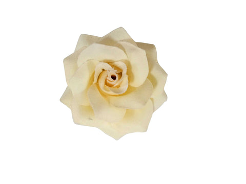 Rose Hair Clip & Brooch 7cm – White Cream