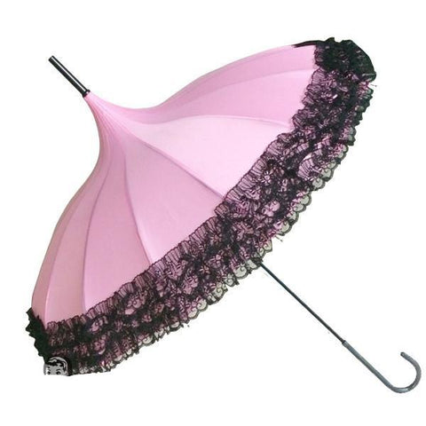 Retro Parasol - Pink with Black Lace