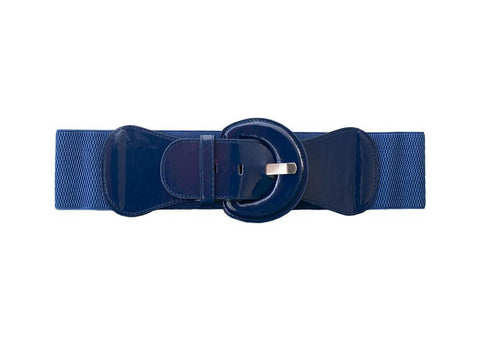 Waist Stretch Belt Round Buckle - Navy