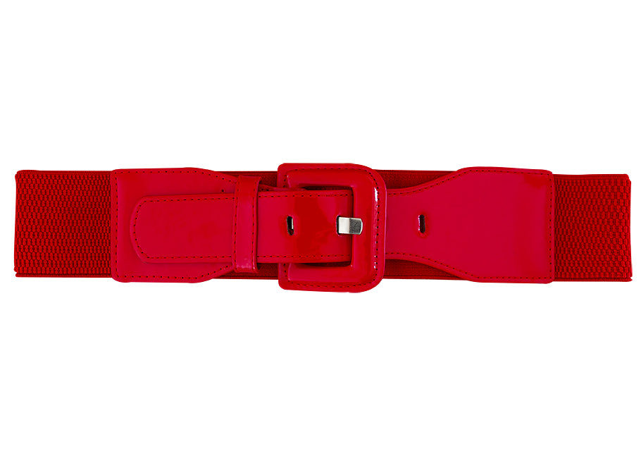 Patent Wide Waist Square Stretch Belt - Red