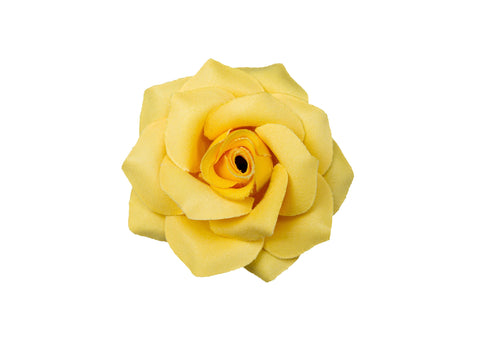 Rose Hair Clip & Brooch 7cm – Spring Yellow