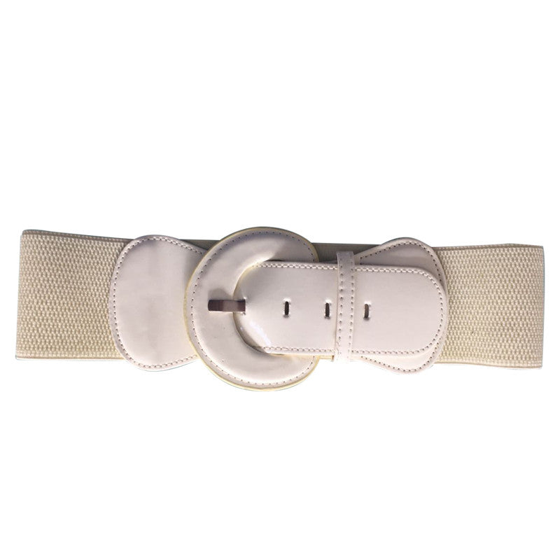 Patent Wide Waist Stretch Belt - Cream