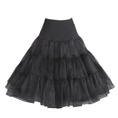Rockabilly Petticoat Black Cat - Black
