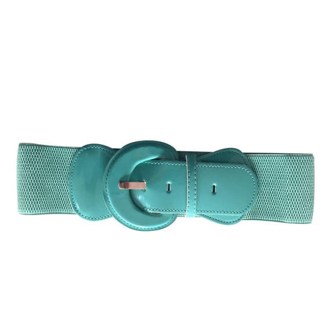 Patent Wide Waist Stretch Belt - Teal