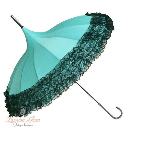 Retro Parasol - Teal with Black Lace