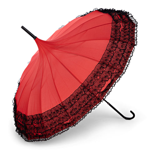 Retro Parasol - Red with Black Lace