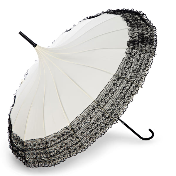 Retro Parasol - Cream with Black Lace