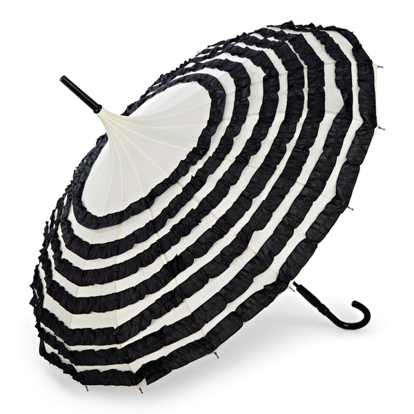 Retro Parasol - Cream with Black Frills