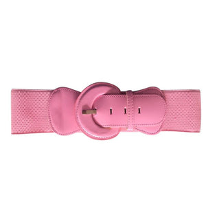 Patent Wide Waist Stretch Belt - Pale Pink