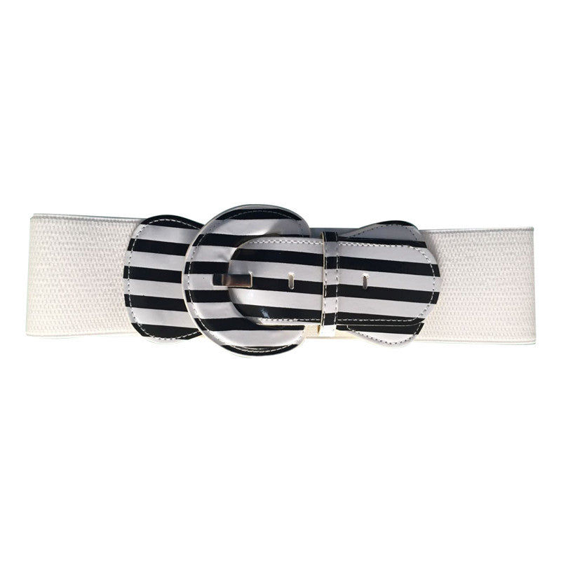 Patent Wide Waist Stretch Belt - Black & White Strip