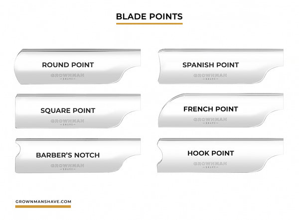 Different variations of points on straight razor