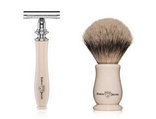 EDWIN JAGGER CHATSWORTH IMITATION IVORY SHAVING BRUSH & SAFETY RAZOR SET