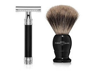EDWIN JAGGER IMITATION EBONY SHAVING BRUSH & SAFETY RAZOR SET