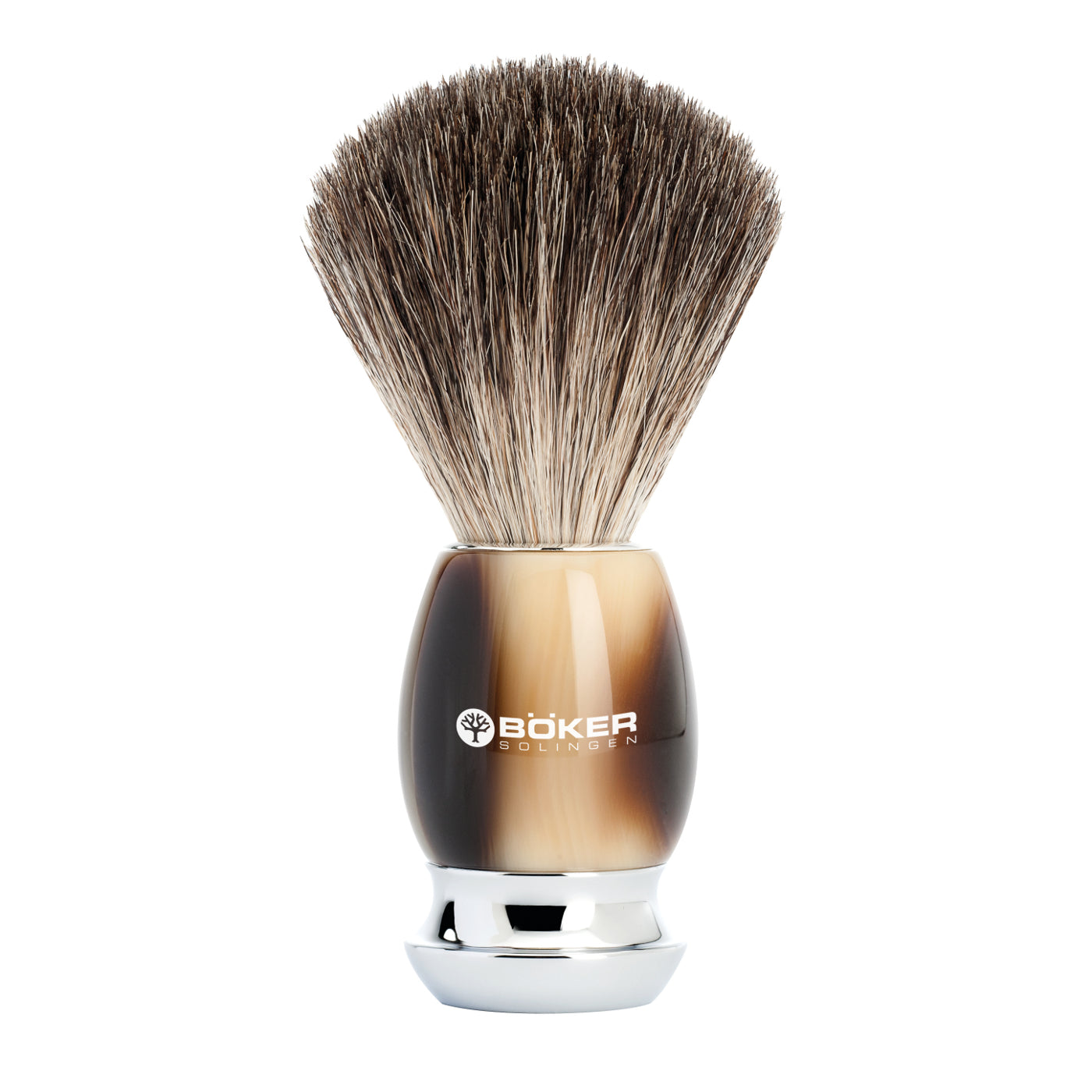 Boker Pure Badger Hair Brown Resin Classic Horn Shaving Brush