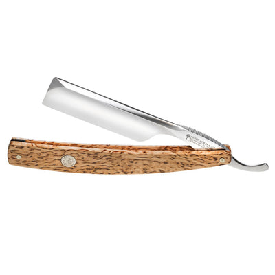"Boker The Celebrated Curly Birch Wood Square Point 6/8"" Carbon Steel Straight Razor"