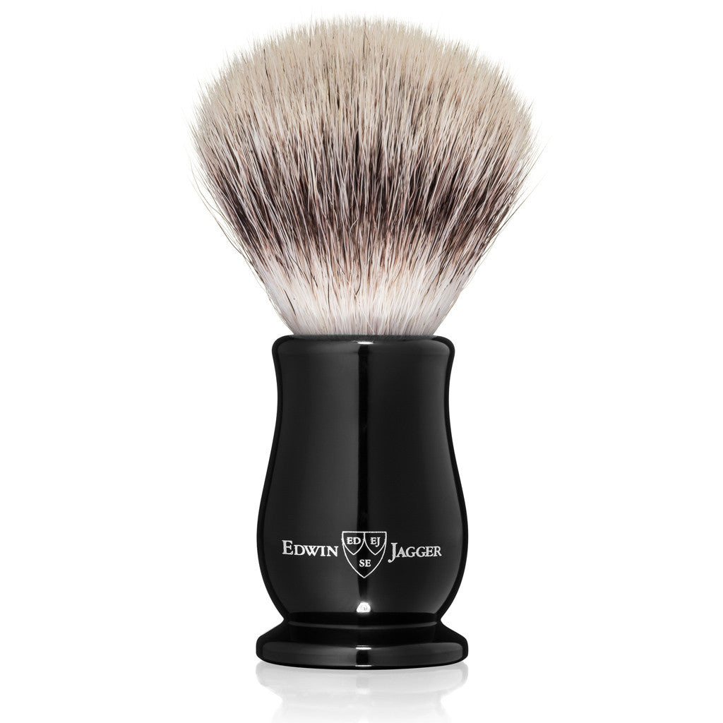 Edwin Jagger Chatsworth Imitation Ebony Synthetic Silvertip Shaving Brush