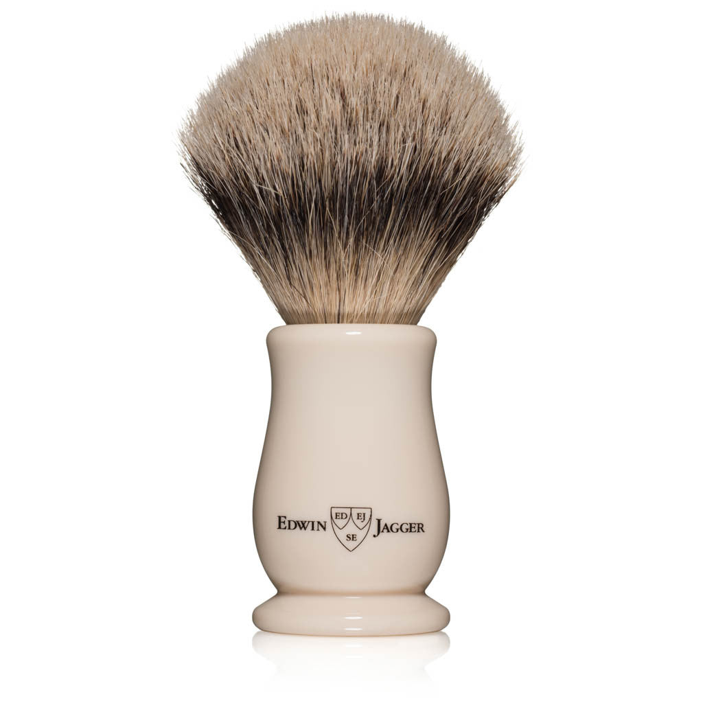 Edwin Jagger Chatsworth Imitation Ivory Silvertip Badger Shaving Brush