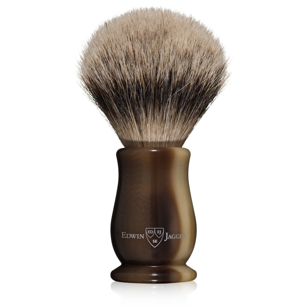 Edwin Jagger Chatsworth Imitation Light Horn Silvertip Badger Shaving Brush
