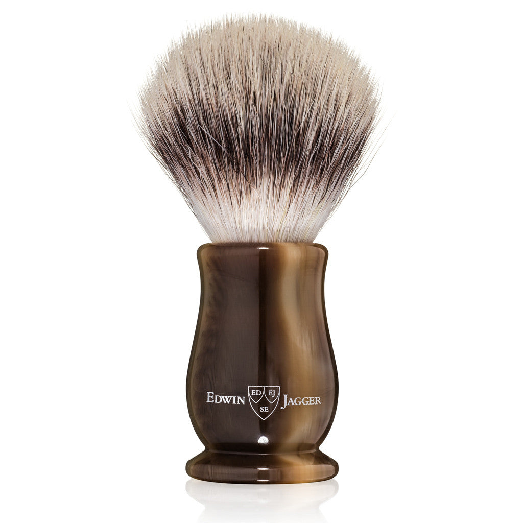 Edwin Jagger Chatsworth Imitation Light Horn Synthetic Silvertip Shaving Brush