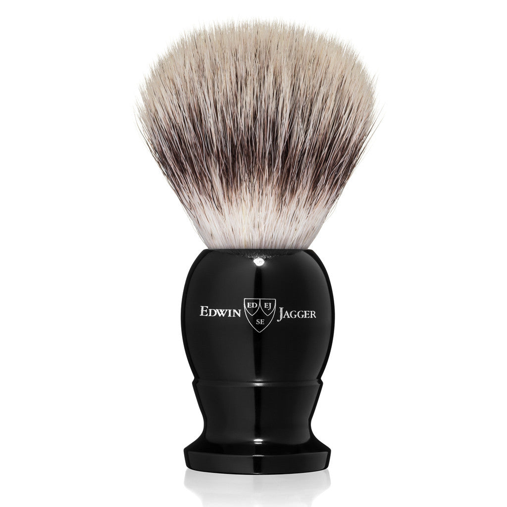 Edwin Jagger Imitation Ebony Medium Synthetic Silvertip Shaving Brush