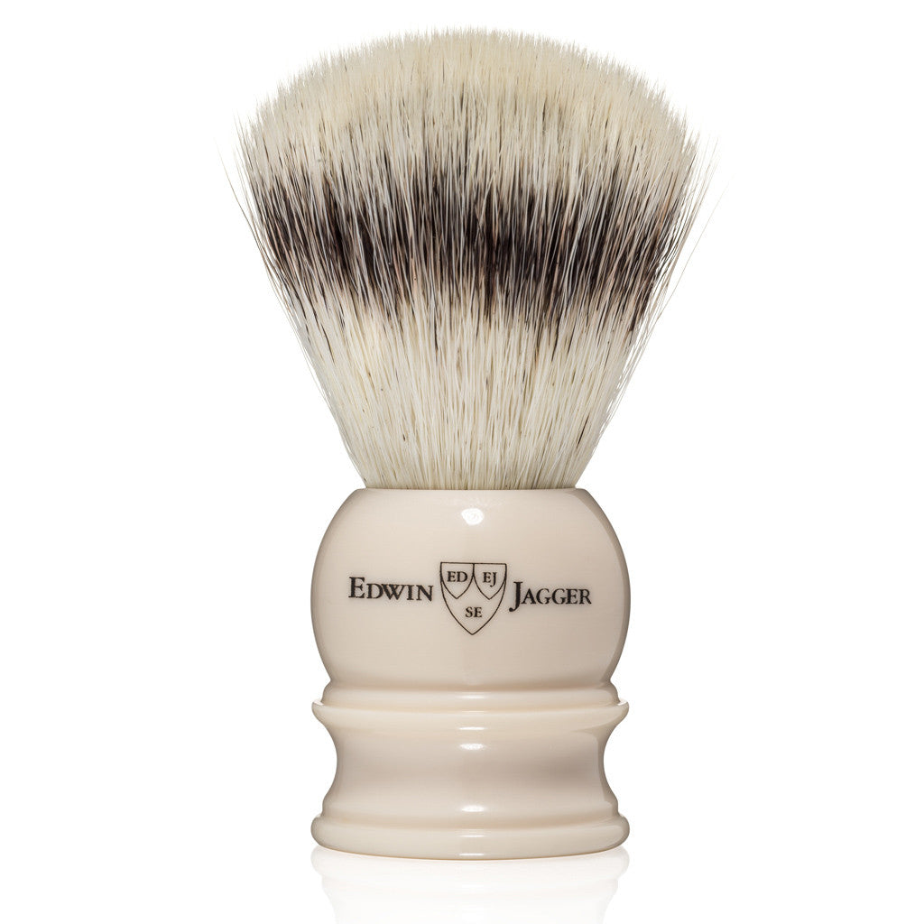 Edwin Jagger Imitation Ivory Medium Synthetic Silvertip Shaving Brush