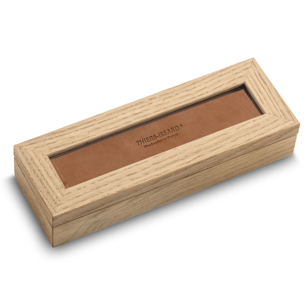 Thiers Issard Oak Box with Glass Window for Two Razors