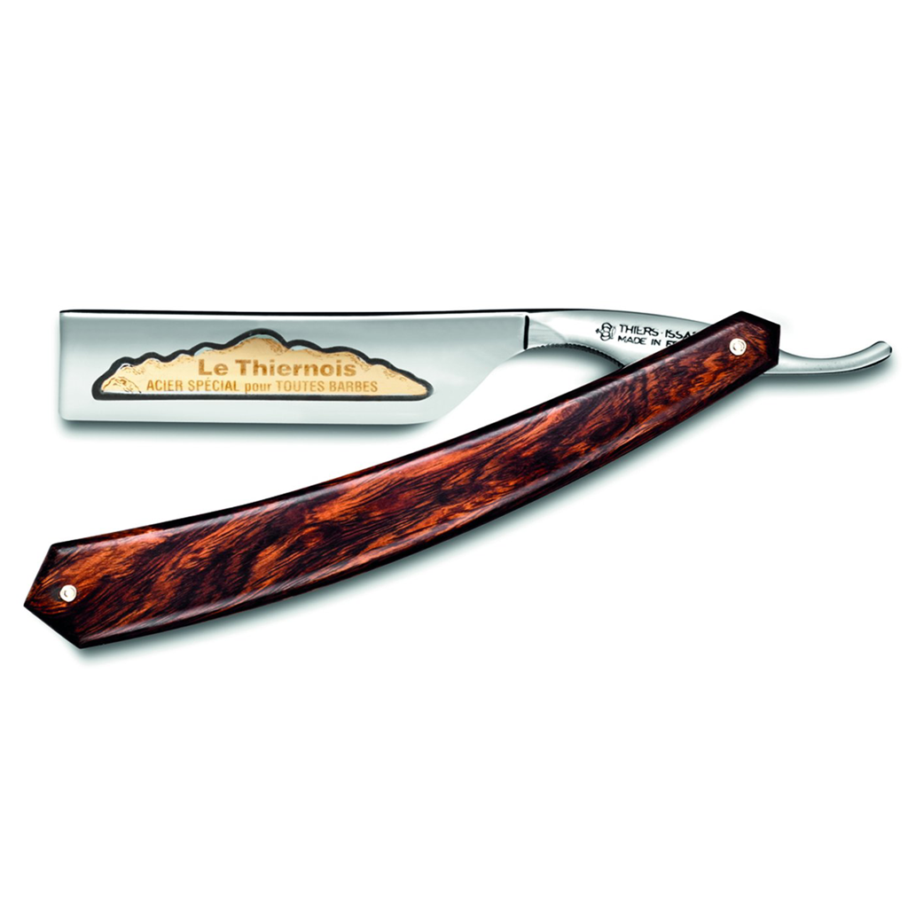 "Thiers Issard Prestige Singing Desert Ironwood Square Point 7/8"" Carbon Steel Straight Razor"