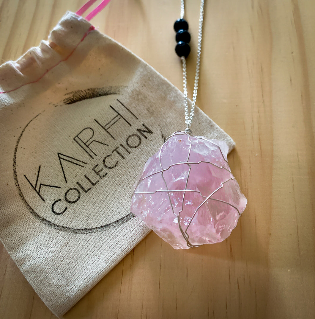 March Crystal Goddess Box | LOVE - Rose Quartz Sterling Silver Necklace