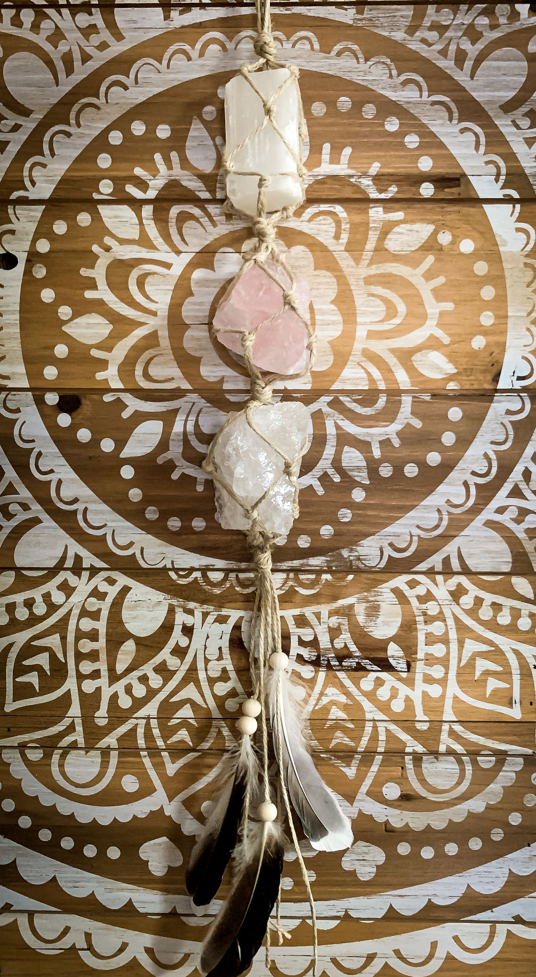 March Crystal Goddess Box | LOVE - Selenite, Rose Quartz & Clear Quartz Wall Hanging