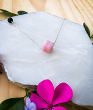 Pink Opal Sterling Silver Aromatherapy Diffuser Necklace