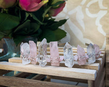 Hand Crafted Rose Quartz & Clear Quartz Crystal Crown