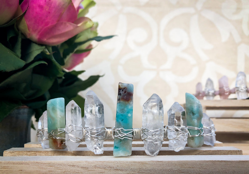 Hand Crafted Amazonite & Clear Quartz Crystal Crown