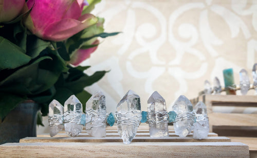 Hand Crafted Aquamarine & Clear Quartz Crystal Crown