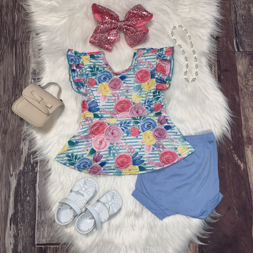 Blue and Pink Watercolor Floral Peplum Set