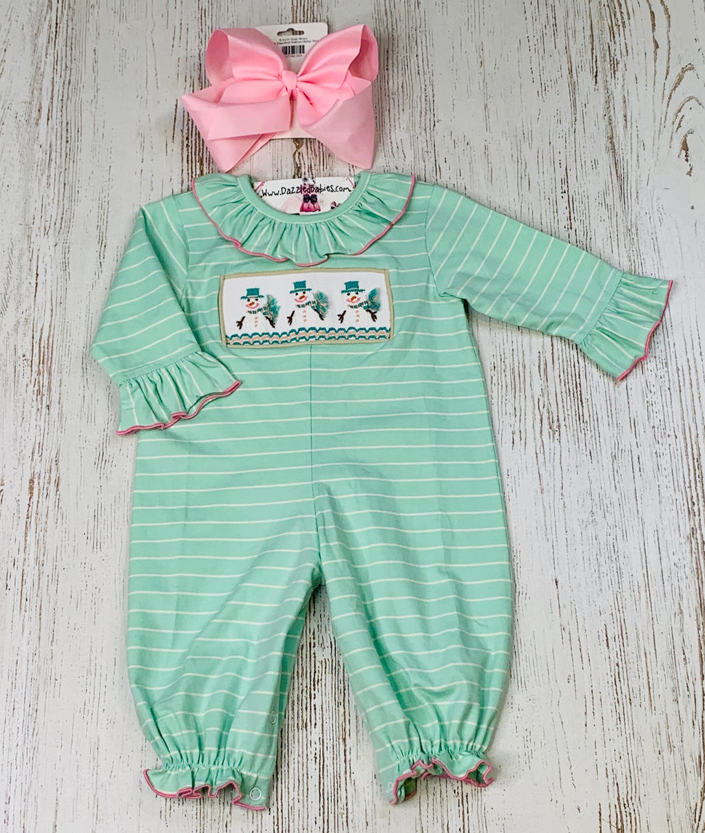 Happy Smocked Snowman Bubble Romper