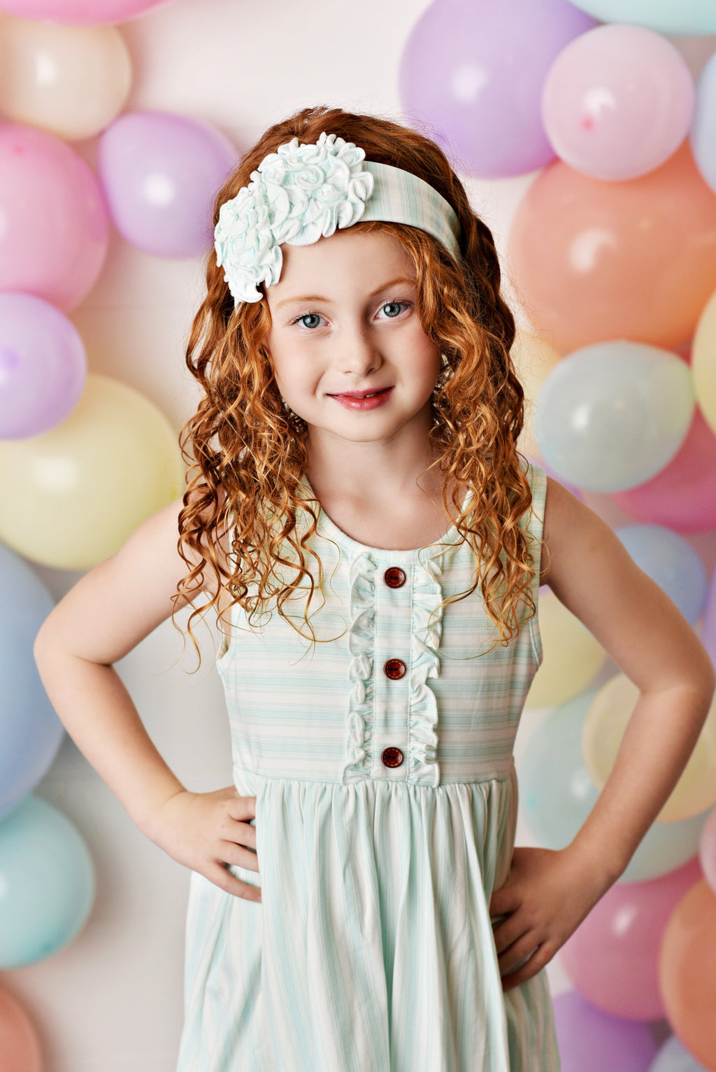 Watercolor Frilly Stripe Dress-Dazzled Babies Boutique