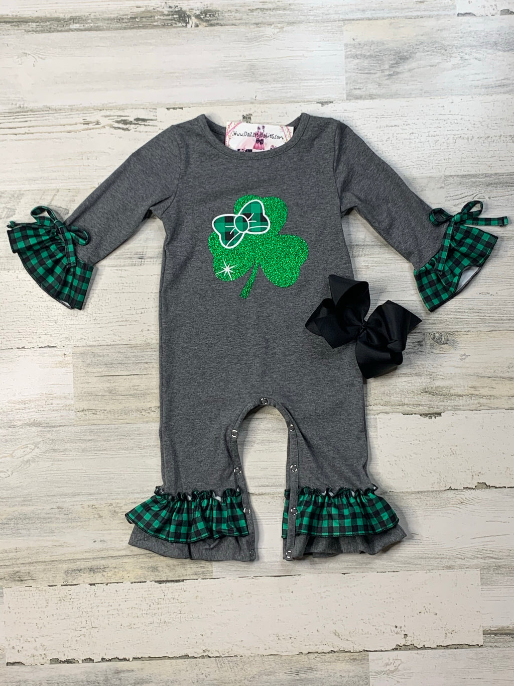 Glittered Clover Romper-Dazzled Babies Boutique