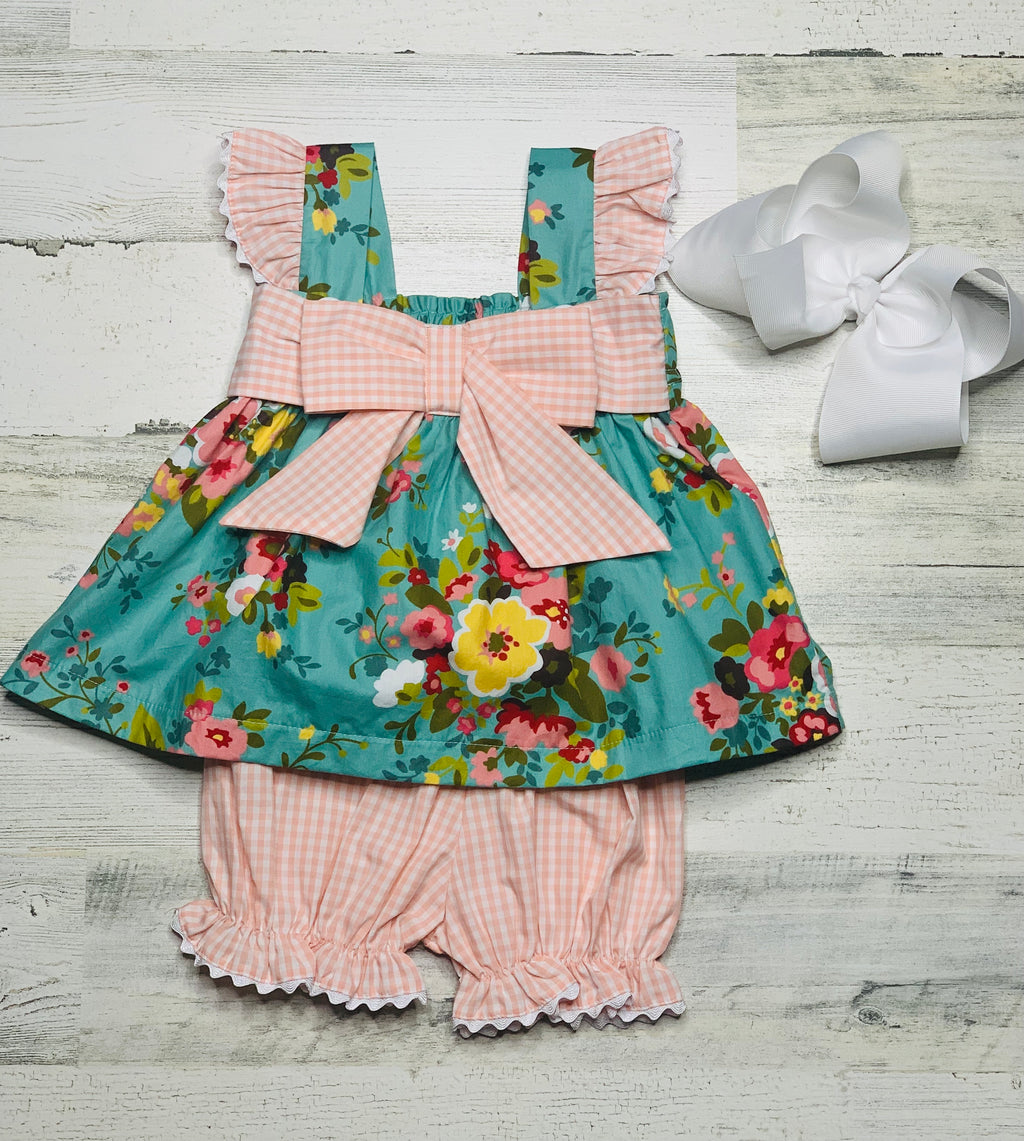 Vintage Garden Bow Bloomer Set-bloomer set-Dazzled Babies Boutique