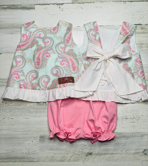 Paisley Pink Bloomer Set-bloomer set-Dazzled Babies Boutique