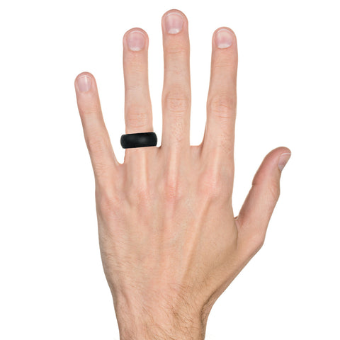 Men's Silicone Wedding Ring Bands - Black, Medium Gray, Light Gray - 8.7mm