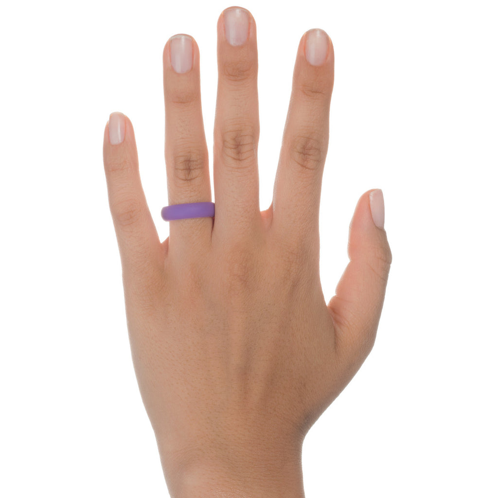 Women's Silicone Wedding Ring Bands - Pink, Turquoise, Black, Purple - 5.5mm