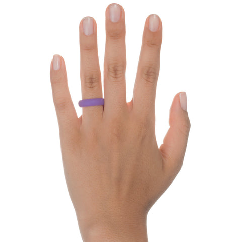 Image of Women's Silicone Wedding Ring Bands - Pink, Turquoise, Black, Purple - 5.5mm